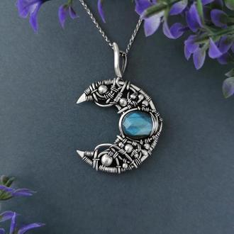 Серебряный кулон луна с синим лабрадором. Подарок девушке на 8 Марта