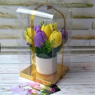 Сувенирное мыло: букет тюльпанов в чашке