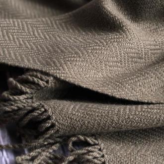 Тканый шарф для мужчин и женщин узором ёлочка цвета хаки