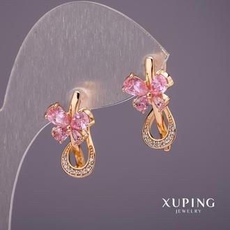 Серьги Xuping Бантики с камнями цвет розовый 22х11мм позолота 18к Артикул: 34266