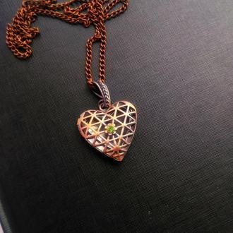 Винтажный кулон медальон Сердце
