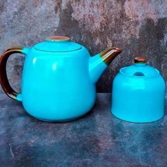 Чайник Велет блакитний з цукорницею