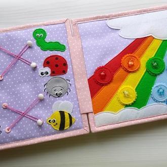 Развивающая книжка из фетра и ткани. Подарок девочке. Счёт до 10, цвета, часики, сортер.
