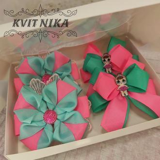 Набор красивых бантиков из репса в розово-мятном цвете для девочки. Резинки для девочки.