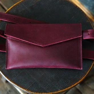 Женская поясная сумка-клатч из кожи Crazy Horse. Женская сумка на пояс из кожи Крейзи Хорс