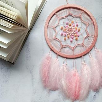 Розовый ловец снов. Подарок. Декор для дома. Амулет. Аксессуар