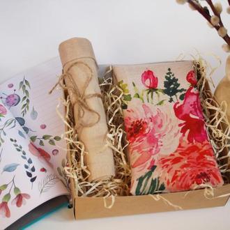 Цветочный подарочный набор на 8 марта Киев, весенний набор экосумка + экомешочек, , экосумка цветы