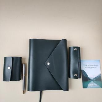 Кожаный подарочный комплект ( набор): планер, ключница, картхолдер, ручка, коробка