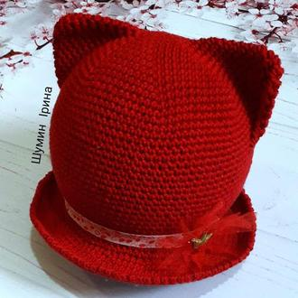 Шапка,крута червона весняна котошапка
