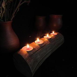 Деревянный подсвечник для чайных свечей