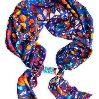 """Шелковый платок """"Весенние бабочки"""", шейный платок, подарок женщине"""