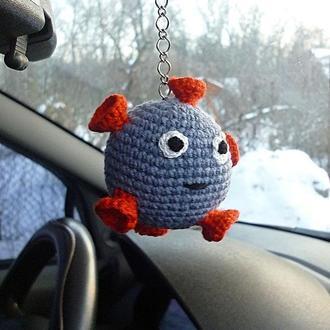 Вязанный брелок вирус для ключей, на рюкзак, сумку, подвеска в автомобиль, брелок бактерия