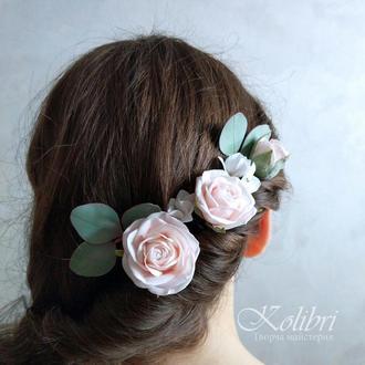 Шпильки для волос с розами, свадебное украшение