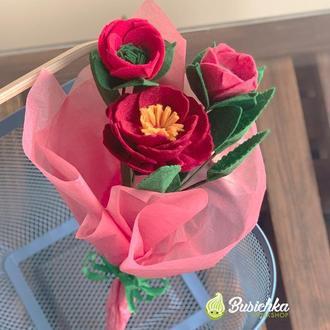 Букет пион из фетра в розовой обертке
