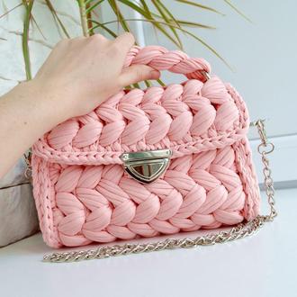 """Розовая сумка """"Зефирка"""" вязаная крючком"""