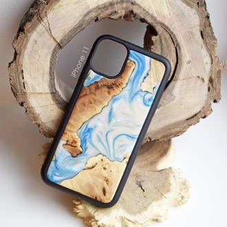 Чехол для iPhone 11 из натурального дерева и эпоксидной смолы ручная работа