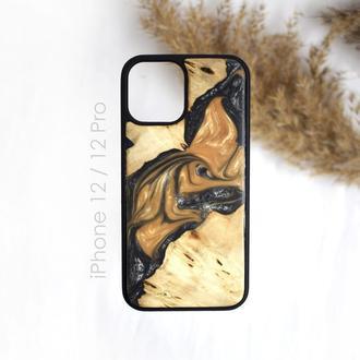 Деревянный чехол для iPhone 12/12 Pro из дерева и эпоксидной смолы ручная работа