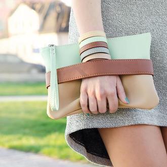 """Мятный клатч - сумочка через плечо """"CarryMe"""""""