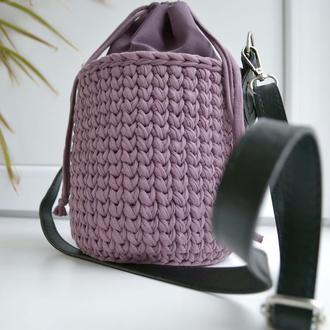 Вязаная сумка ведро