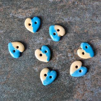 Керамічні ґудзики Серце 17 мм біло-блакитні