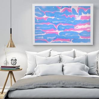 """Интерьерная картина акрилом """"Розово-голубые волны"""""""