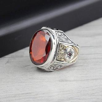 Классное яркое и необыкновенно красивое кольцо мужское из настоящего серебра Ювелирное с пробой