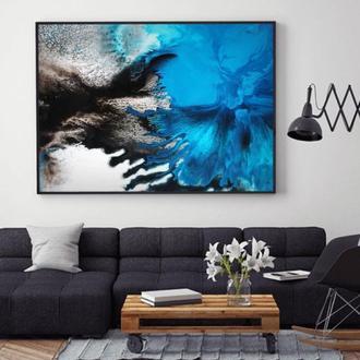 """Интерьерная картина акрилом """"Яркая синяя абстракция"""""""