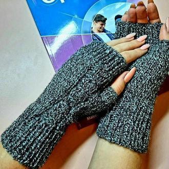Митенки  ,перчатки чёрный меланж