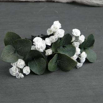 Шпильки с цветами гипсофилы и эвкалиптом Свадебные шпильки для волос
