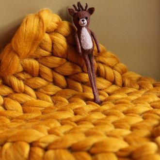 Пропс игрушка из шерсти олень, шерстяная игрушка олень, пропс, wool props toy