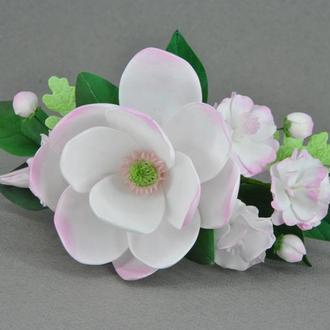 Заколка с цветами Магнолия сакура зажим для волос с цветами из фоамирана
