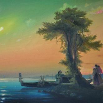"""И.К.Айвазовский: """"Вид на залив около Венеции"""". Копия,масло"""