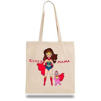 """Эко-сумка, шоппер с принтом повседневная """"Супер мама"""""""