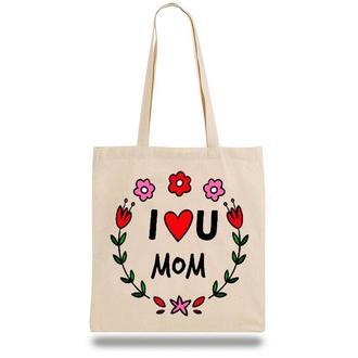 """Эко-сумка, шоппер с принтом повседневная """"I love U Mom"""""""