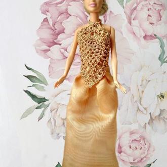 Вечірнє плаття для ляльки Барбі, золоте