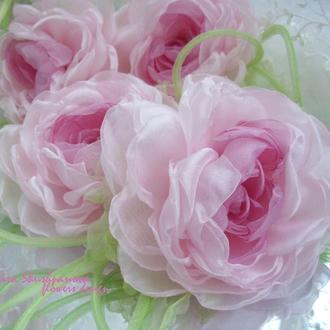 Брошь пион «Розовая нежность». Цветы из ткани