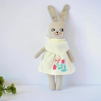 Зайчик для девочки Зайка из льна Эко игрушка зайчиха в юбочке