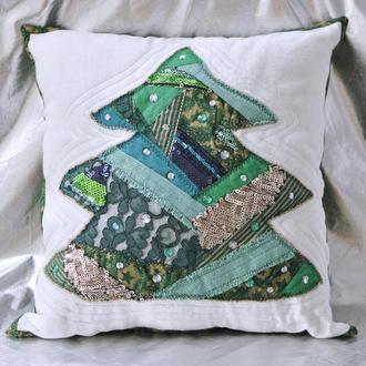 Подушка декоративная Елочка пайетки бисер