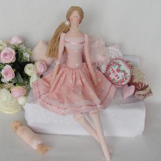 Кукла Тильда 48см в платье в горошек