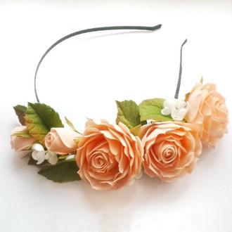 ободок венок обруч с розами