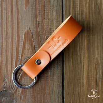 Брелок для ключей из натуральной кожи рыжего цвета