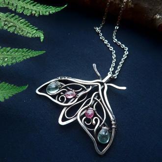 Срібний кулон Нічний метелик з аквамаріном