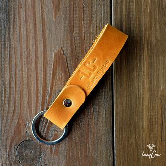 Брелок для ключей из натуральной кожи crazy horse цвета кемел