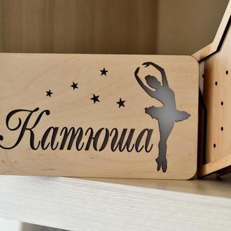 Настольный ночник из дерева с балериной и именем Катюша