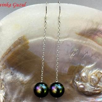 Серебряные сережки жемчужные серьги серебро жемчуг Akoya Tahiti подарок new тренд