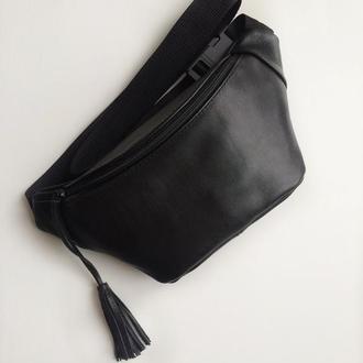 Базовая сумка на пояс,бананка blackbetty из натуральной кожи от бренда beehive