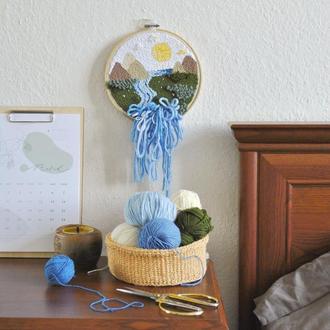 Вышитый декор на стену / декоративная вышивка / ковровая вышивка / детский декор