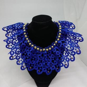 Кружевной воротник колье (синий+золото)