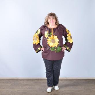 Вышиванка женская с длинным рукавом - реглан, вышивка - подсолнух, Оникс, цвет - коричневый.