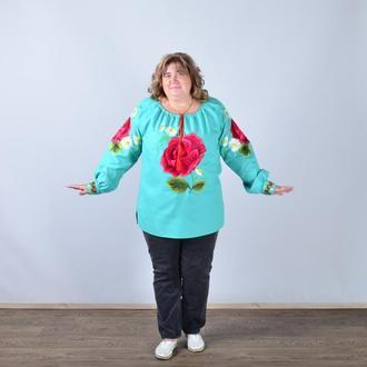 Вышиванка женская с длинным рукавом - реглан, вышивка - роза, Оникс, цвет - мятный.